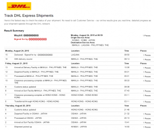Sample of the DHL tracking