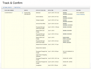 Sample of the EMS tracking.