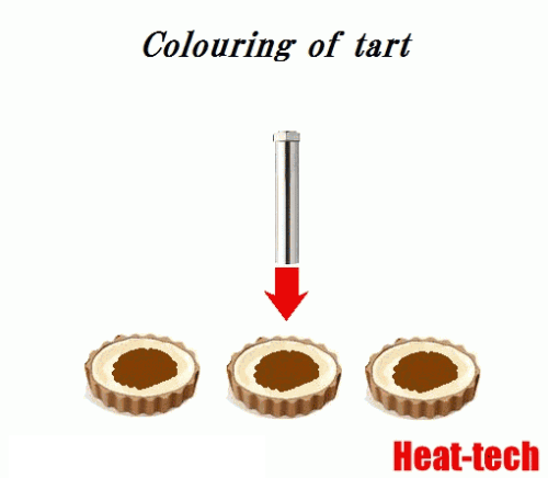 Colouring of tart   by the Air Blow Heater