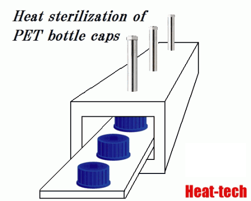 Heat sterilization of PET bottle caps by the Air Blow Heater