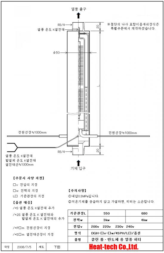 [ 클린 룸 · 반도체 용 열풍 히터 ] DGH-45PH