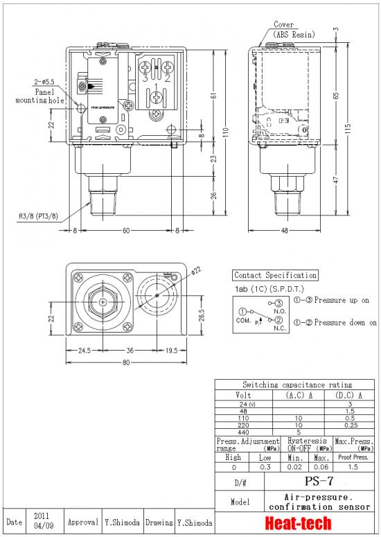 Air-pressure confirmation sensor for Air Blow Heater