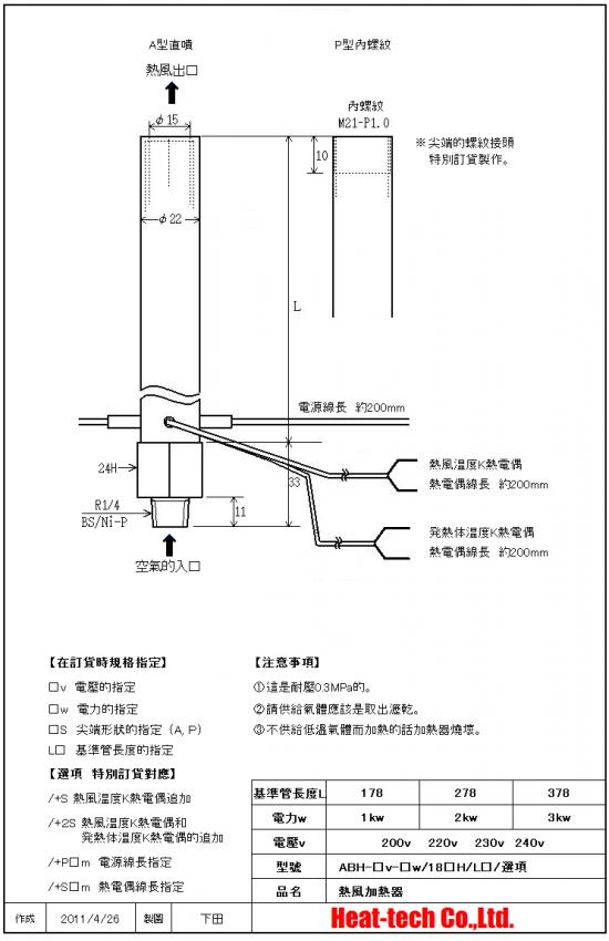 中型熱風加熱器 ABH-18H
