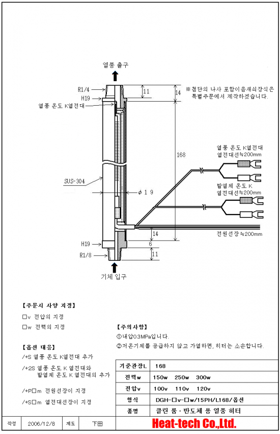 [ 클린 룸 · 반도체 용 열풍 히터 ] DGH-15PH