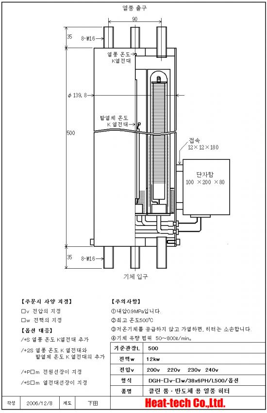 [ 클린 룸 · 반도체 용 열풍 히터 ] DGH-29x6PH