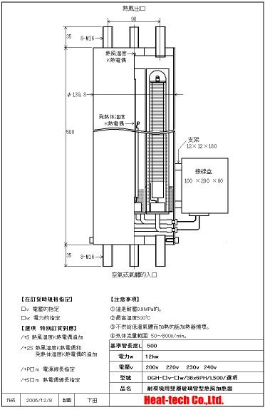 《 無塵室・耐環境用熱風加熱器 》DGH-38x6PH