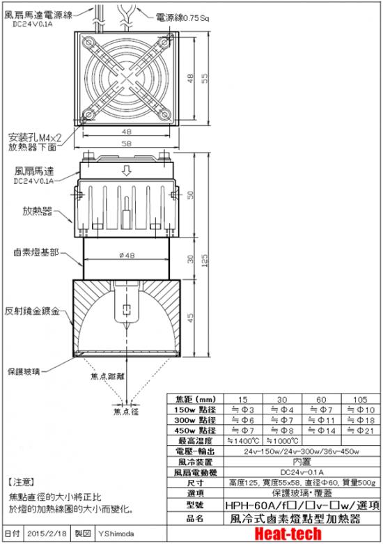 鹵素燈點型加熱器 實驗配套元件 HPH-120A/f45-1000w +HCVD