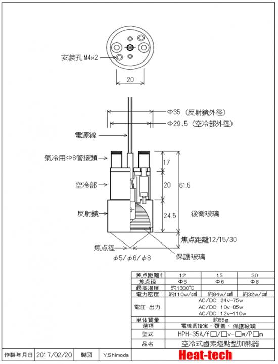 鹵素燈點型加熱器 實驗室配套元件 HPH-35A/f15-110w+HCV