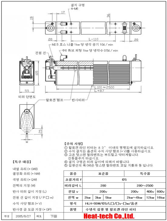 HLH-55W 고성능 선 가열 용 수냉식 집광 형 할로겐 라인 히터