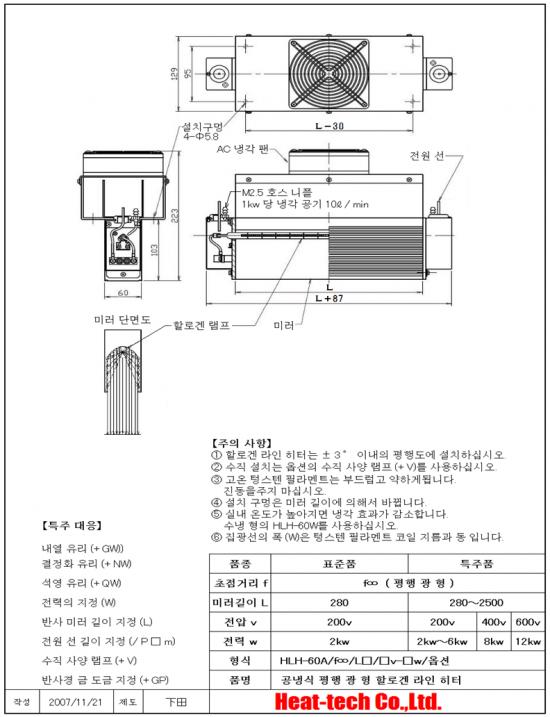 HLH-60A 고출력면 가열 용 공랭식 평행 광형 할로겐 라인 히터