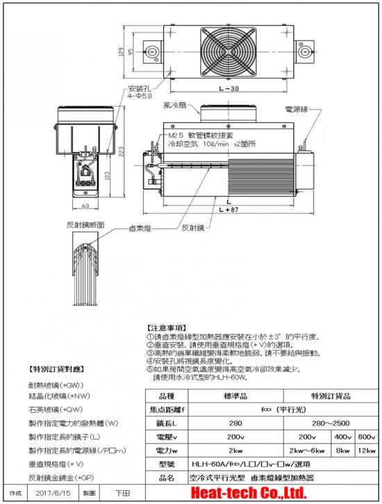 高出力空冷式面加熱型 鹵素燈線型加熱器 HLH-60A
