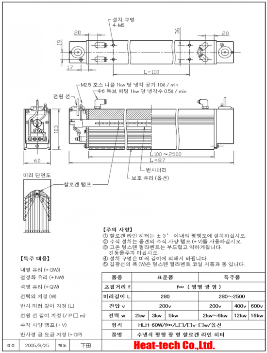 HLH-60W 고출력면 가열 용 수냉식 평행 광형 할로겐 라인 히터