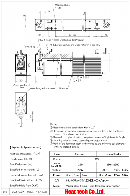 Small Halogen Line Heater HLH-55 series