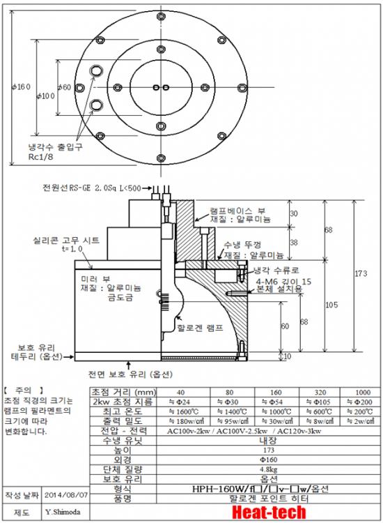 중형 강력한 할로겐 포인트 히터 HPH-160W