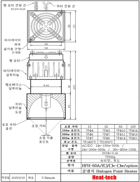 소형 할로겐 포인트 히터 HPH-60A