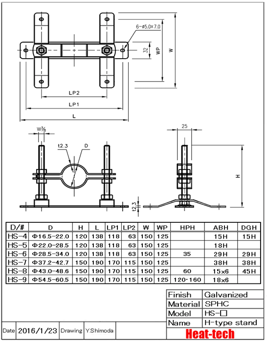 H-type stand for medium and large heater