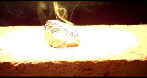 Heating, melting and vitrification of rocks series 16 - Burunaito