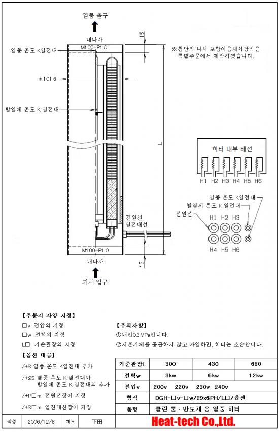 《 클린 룸 · 반도체 용 열풍 히터 》 DGH-29x6PH