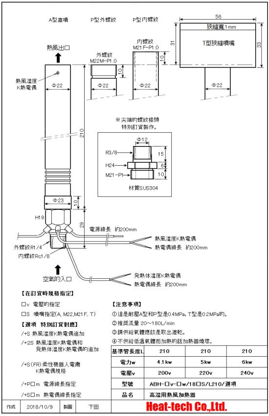 《 高温用中型熱風加熱器 》ABH-18S