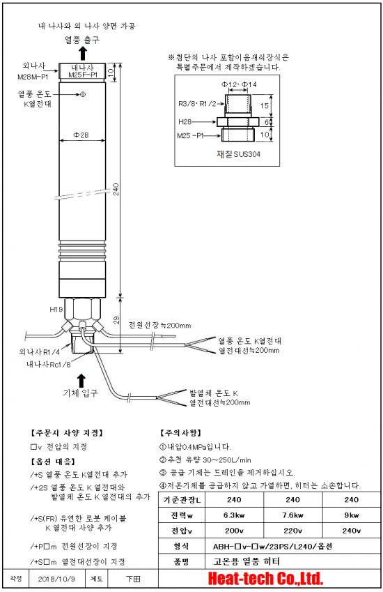 《 고온용 중형 열풍 히터 》ABH-23PS