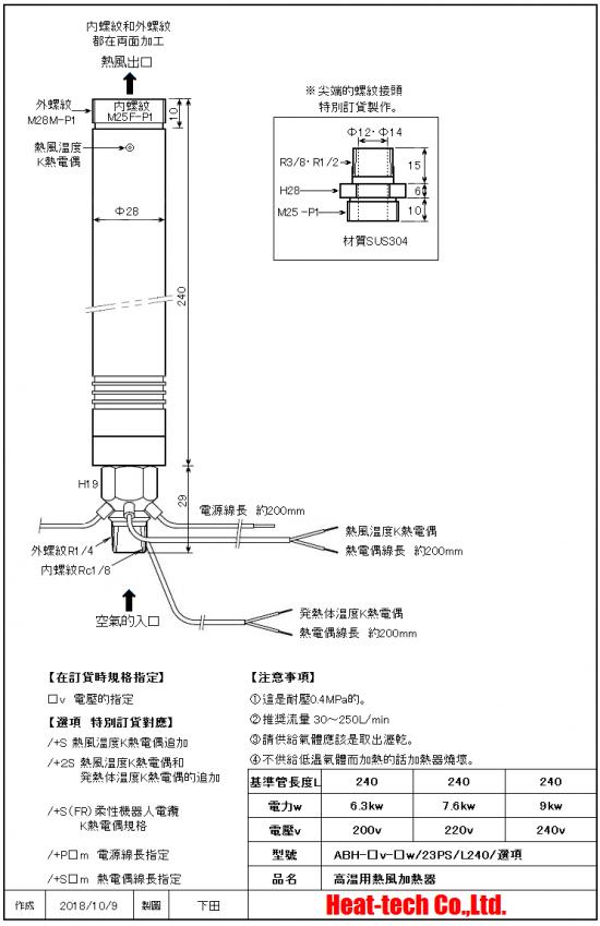 《 高温用中型熱風加熱器 》ABH-23PS