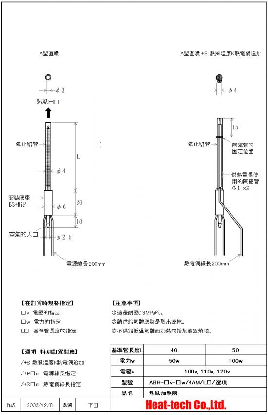 《 超小型熱風加熱器 》 ABH-4M