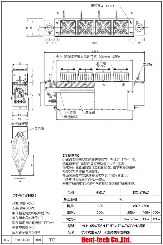 小型的鹵素燈線型加熱器 HLH-65系列