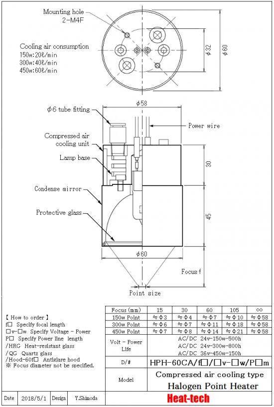 Medium size Halogen Point Heater HPH-60 series