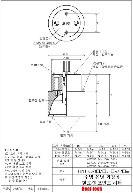 중형 할로겐 포인트 히터 HPH-60시리즈