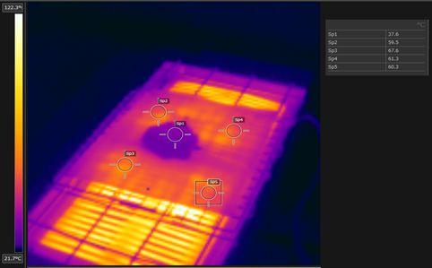 Test piece heating register