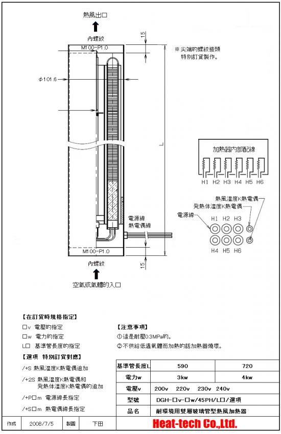 《 無塵室・耐環境用熱風加熱器 》DGH-29x6PH